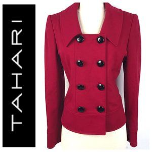 Tahari ASL Red Double Breasted Ponte Jacket Blazer